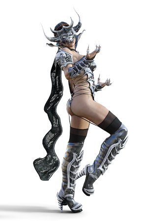 Evil sorceress mask horns. Gothic warrior woman. Magical protective armor. Muscular athletic body. Realistic 3D rendering isolate illustration. Hi key. 版權商用圖片