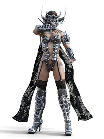 Slechte tovenares masker hoorns. Gotische krijger vrouw. Magisch beschermend pantser. Gespierd atletisch lichaam. Realistische 3D-rendering isoleren illustratie. Hallo sleutel.