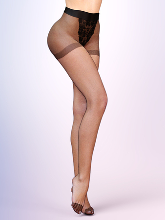 Beautiful female legs. Women sexy slim pantyhose. Seductive pose. Conceptual fashion art. 3D render realistic illustration.