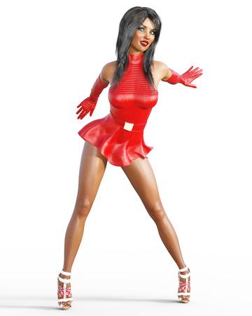 Vrouw in rode lederen jurk. Korte rok. Heldere make-up. Conceptuele mode kunst. Blauwe ogen. Verleidelijke openhartige houding. Realistische 3D render illustratie. Studio, Isoleren, high key.