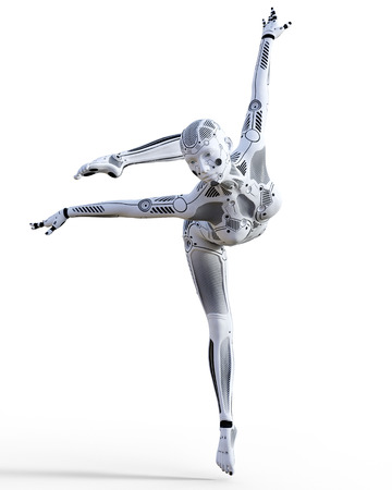 Dancing robot woman. White metal droid. Artificial Intelligence. Conceptual fashion art. Realistic 3D render illustration. Studio, isolate, high key. Standard-Bild