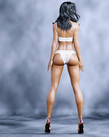 High sexy mulatto woman in lingerie. Bra and panties. Conceptual fashion art. Blue eyes. Seductive candid pose. Realistic 3D render illustration. Studio, high key. Zdjęcie Seryjne