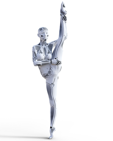 Dancing robot woman. White metal droid. Artificial Intelligence. Conceptual fashion art. Realistic 3D render illustration. Studio, isolate, high key. Stock Photo