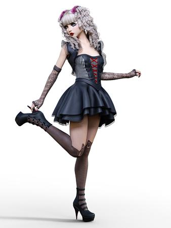 Beautiful young goth woman posing photo shoot. Short black dress, dark stockings, shoes. Long blonde hair. Bright gothic make up. Conceptual fashion art. Realistic 3D render illustration.