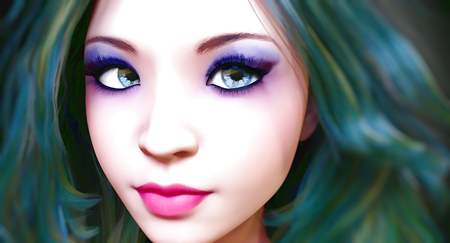 Portrait of a beautiful young girl with blue eyes and red lips. Woman soft skin. Dark hair. Bright makeup. Realistic 3D render illustration. Pastel drawing. Watercolor. Stock Photo