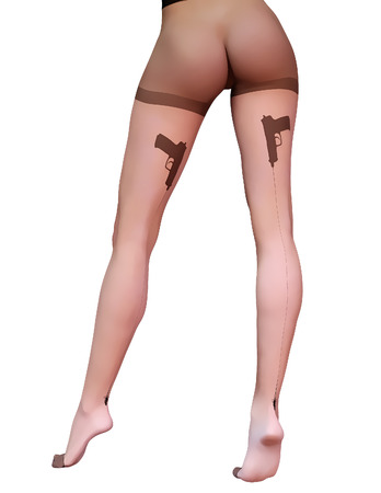 tight body: Sexy slim female legs transparent nylon stockings.Conceptual fashion art.Tights guns, bullets trajectory line.Seductive candid pose.3D render realistic illustration.Pastel, watercolor, cartoon drawing