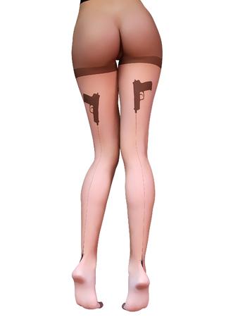 Sexy slim female legs transparent nylon stockings.Conceptual fashion art.Tights guns, bullets trajectory line.Seductive candid pose.3D render realistic illustration.Pastel, watercolor, cartoon drawing