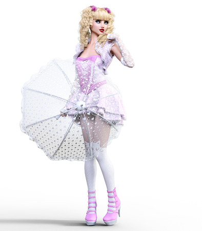 Young beautiful girl with doll face umbrella posing photo shoot.Short light pink dress, stockings, shoes.Long blonde hair.Bright goth make up.Conceptual fashion art.Realistic 3D render illustration. Stock Photo