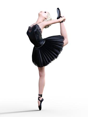 hot girl legs: Dancing ballerina 3D. Black ballet tutu. Blonde girl with blue eyes. Ballet dancer. Studio photography. High key. Conceptual fashion art. Render realistic illustration. Stock Photo