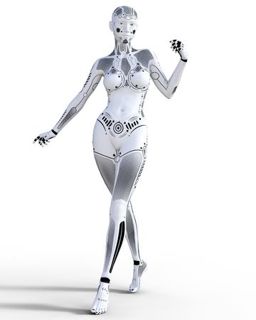 Robot woman. White metal droid. Artificial Intelligence. Conceptual fashion art. Realistic 3D render illustration. Studio, isolate, high key. Stock Photo