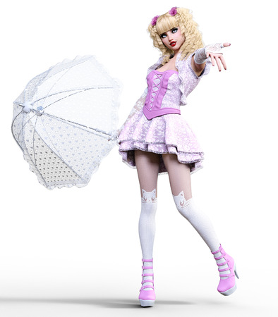 Young beautiful girl with doll face umbrella posing photo shoot.