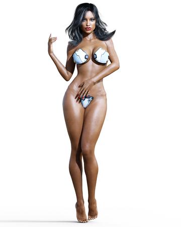 Tall sexy mulatto woman in minimalist futuristic lingerie. Metal bra and panties. Conceptual fashion art. Blue eyes. Seductive candid pose. Realistic 3D render illustration. Studio, high key. Stock Photo