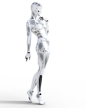Robot vrouw. Witmetaal droid. Kunstmatige intelligentie. Conceptuele mode kunst. Realistische 3D render illustratie. Studio, isoleren, high key. Stockfoto