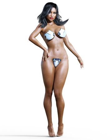 computer art: Tall sexy mulatto woman in minimalist futuristic lingerie. Metal bra and panties. Conceptual fashion art. Blue eyes. Seductive candid pose. Realistic 3D render illustration. Studio, high key. Stock Photo