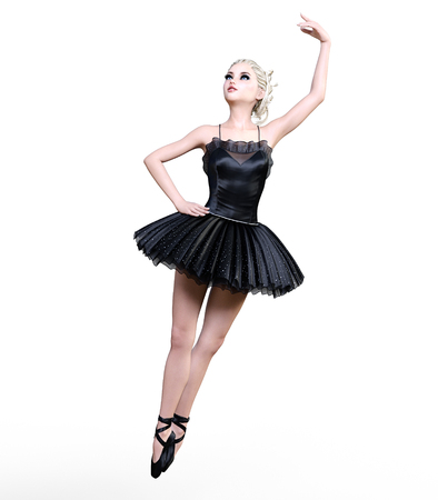 Dancing ballerina 3D. Black ballet tutu. Blonde girl with blue eyes. Ballet dancer. Studio photography. High key. Conceptual fashion art. Render realistic illustration. Stock Photo