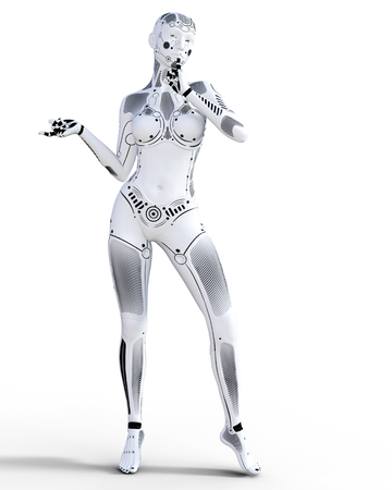 Robot woman. White metal droid. Artificial Intelligence. Conceptual fashion art. Realistic 3D render illustration. Studio, isolate, high key. Stock fotó