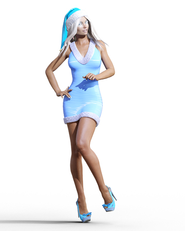 Snow Maiden Girl blue dress and hat. Snow on eyelashes. Posing photo shoot. Short blue dress with fur. Long blonde hair. New Year. Christmas. Elf Clothes. Conceptual fashion art. Realistic 3D render
