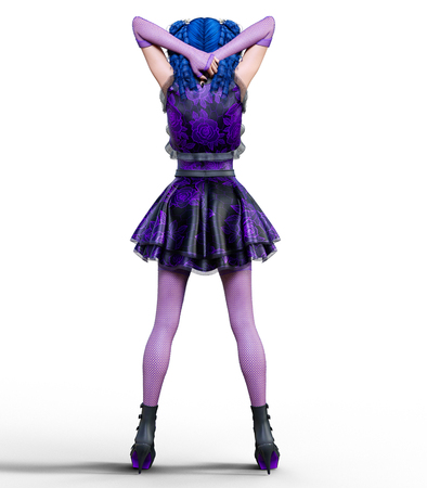 Young beautiful girl with a doll face posing photo shoot. Short light purple dress, stockings, shoes. Long blue hair. Bright goth make up. Conceptual fashion art. Realistic 3D render illustration.