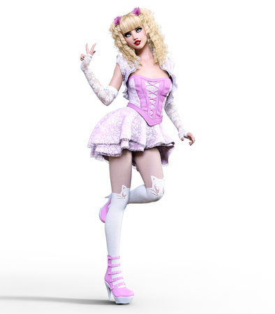 Young beautiful girl with a doll face posing photo shoot. Short light pink dress, stockings, shoes. Long blonde hair. Bright goth make up. Conceptual fashion art. Realistic 3D render illustration. Stock Photo