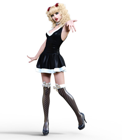 Young beautiful girl with doll face. Short festive dress fur, stockings, shoes. Long blonde hair. Bright make up. Conceptual fashion art. Realistic 3D render illustration. Christmas, New Year.