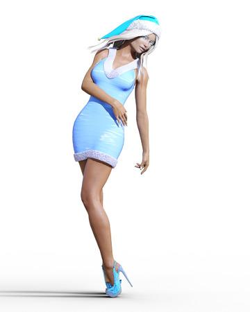Snow Maiden Girl blue dress and hat. Snow on eyelashes. Posing photo shoot. Short blue dress fur. Long blonde hair. New Year. Christmas. Elf Santa Clothes. Conceptual fashion art. Realistic 3D Stock Photo