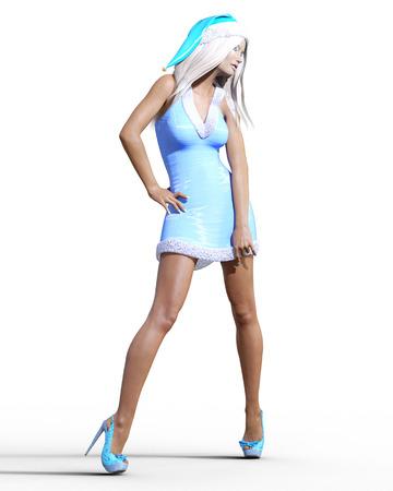 Snow Maiden Girl blue dress and hat. Snow on eyelashes. Posing photo shoot. Short blue dress fur. Long blonde hair. New Year. Christmas. Elf Santa Clothes. Conceptual fashion art. Realistic 3D