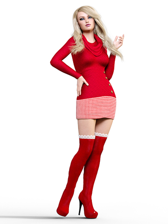 3D beautiful blonde in short dress and long boots. Bright makeup. Woman studio photography. High heel. Conceptual fashion art. Seductive candid pose. Realistic render illustration. Isolate.