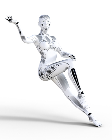 Robot woman. White metal droid. Artificial Intelligence. Conceptual fashion art. Realistic 3D render illustration. Studio, isolate, high key. Reklamní fotografie