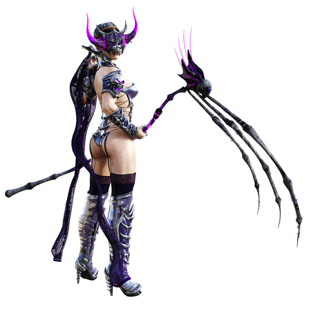 Evil sorceress mask horns. Gothic warrior woman. Magical protective armor. Muscular athletic body. Realistic 3D rendering isolate illustration. Hi key. Zdjęcie Seryjne