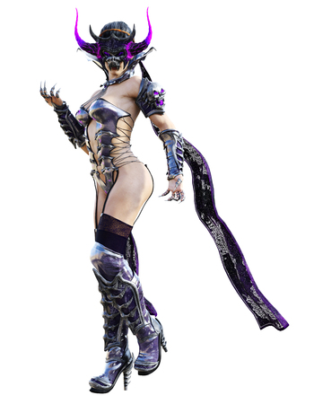 Evil sorceress mask horns. Gothic warrior woman. Magical protective armor. Muscular athletic body. Realistic 3D rendering isolate illustration. Hi key. Stock fotó