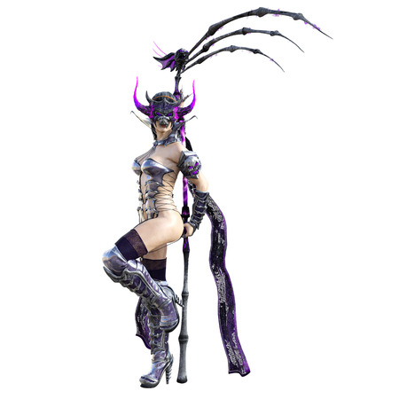 Evil sorceress mask horns. Gothic warrior woman. Magical protective armor. Muscular athletic body. Realistic 3D rendering isolate illustration. Hi key. Stock Photo