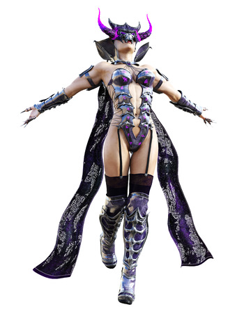 Evil sorceress mask horns. Gothic warrior woman. Magical protective armor. Muscular athletic body. Realistic 3D rendering isolate illustration. Hi key. Foto de archivo