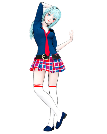 3D anime doll Japanese anime schoolgirl big blue eyes and bright makeup. 写真素材