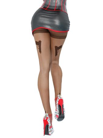 Woman detective.Dark nylon tights with guns, bullets and trajectory line.Short skirt corset.Female domination.Sexy slim female legs dark pantyhose.Seductive pose.Conceptual fashion art.3D render Stock Photo