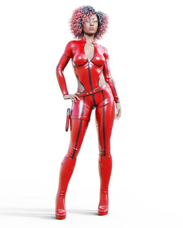 革の赤いボディスーツで3D美しい背の高い女性。ラテックスタイトフィッティングスーツ。ホルスターに銃を女の子スタジオの写真。ハイヒール。コ 写真素材