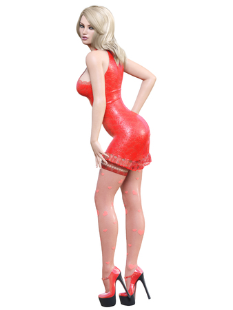 3D beautiful girl red dress stockings heart. Blonde hair. Woman studio photography. High heel. Conceptual fashion art. Seductive candid pose. Realistic illustration. Valentines Day.