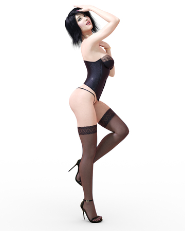 3D Beautiful brunette girl in lingerie, corset and stockings. Black clothes. Woman studio photography. High heel. Conceptual fashion art. Seductive candid pose. Realistic render illustration. Isolate. Foto de archivo