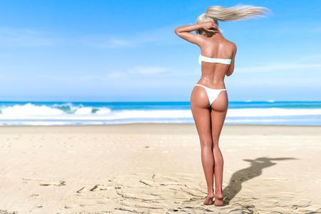 3D beautiful sun-tanned woman turquoise swimsuit bikini on sea beach. Summer rest. Blue ocean background. Sunny day. Conceptual fashion art. Seductive candid pose. Realistic render illustration.