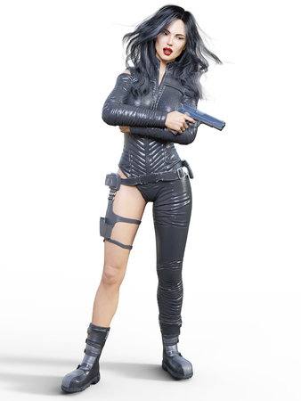 Young beautiful woman warrior from future. Protective black armor leather jumpsuit. Pistol in hand. Girl standing candid. Photorealistic 3D rendering isolate illustration. Stock fotó