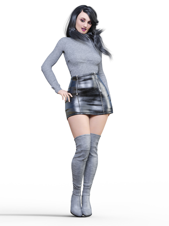 3D beautiful woman in short black leather skirt and long boots.Gray pullover.Bright makeup.Woman studio photography.High heel.Conceptual fashion art.Seductive candid pose.Realistic render illustration