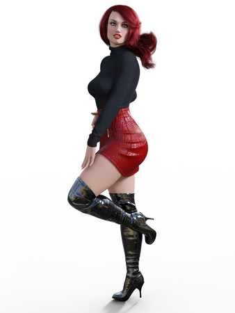 3D beautiful woman short red leather skirt and long boots.Black pullover.Bright makeup.Woman studio photography.High heel.Conceptual fashion art.Seductive candid pose.Realistic render illustration