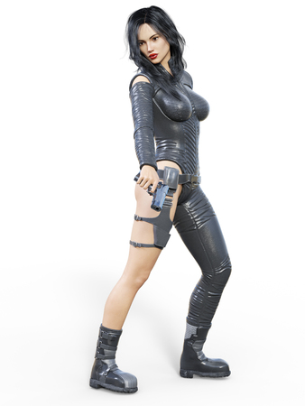 Young beautiful woman warrior from future. Protective black armor leather jumpsuit. Pistol in hand. Girl standing candid. Photorealistic 3D rendering isolate illustration. Stock Photo