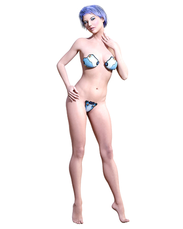 Tall sexy woman minimalist extravagant sexy metal lingerie.Thongs bra strap and panties.Conceptual fashion art.Seductive candid pose.3D render illustration.Studio, high key.Collection summer clothes Stock Photo