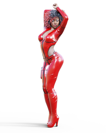 3D beautiful tall woman in leather red bodysuit. Latex tight fitting suit. Gun in holster. Girl studio photography. High heel. Conceptual fashion art. Seductive candid pose. Realistic illustration. 写真素材