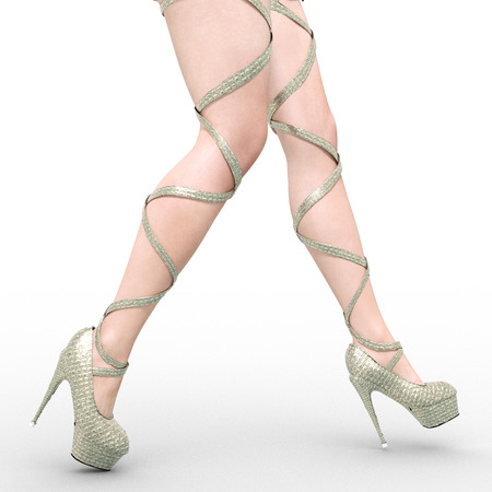 Beautiful female legs sandals high heels. Sexy slim female legs. Summer collection. Seductive pose. Conceptual fashion art. 3D render illustration. Isolate.