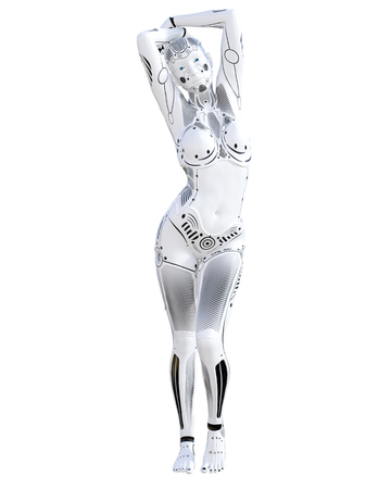 Robot woman. White metal droid. Android girl. Artificial Intelligence. Conceptual fashion art. Realistic 3D render illustration. Studio, isolate, high key Stock Photo