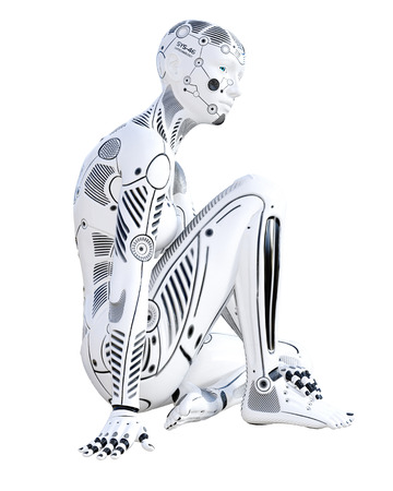 Robot woman. White metal droid. Android girl. Artificial Intelligence. Conceptual fashion art. Realistic 3D render illustration. Studio, isolate, high key Reklamní fotografie