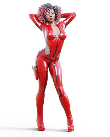 赤いボディスーツを着た3D美しい背の高い女性。ラテックスタイトフィットスーツ。ホルスターに銃をガールスタジオ撮影。ハイヒール。コンセプチ