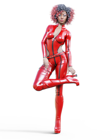 3D beautiful tall woman wearing red bodysuit.Latex tight fitting suit.Gun in holster.Girl studio photography.High heel.Conceptual fashion art.Seductive candid pose.Realistic render illustration. Stock Photo