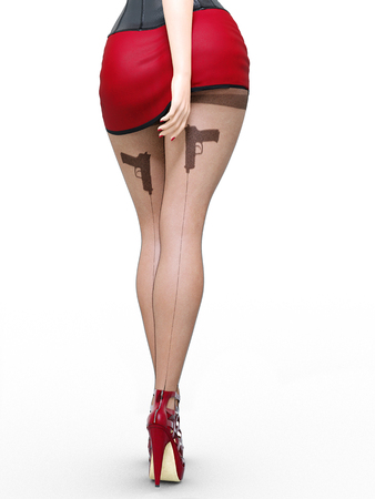 Long slender sexy legs woman.Short red skirt.Black stockings mesh.High heels.Office secretary.Provocative liberated pose.3D rendering.Isolate.Conceptual fashion art.Collection summer clothes